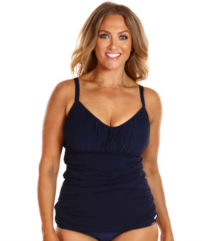 Capriosca Honey Comb Underwire Tankini Top Swimsuit - Navy - Front