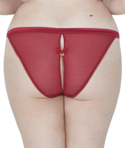 Scantilly Surrender Peep Hole Brief - Red - Back