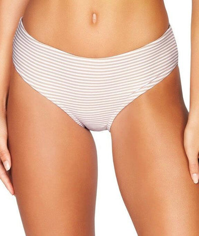 Sea Level Sorrento Stripe Mid Bikini Brief - Stone - Front