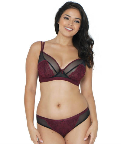Curvy Kate Dragonfly Brazilian Brief - Black/Wine - Model - Front