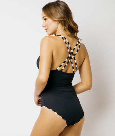 Nip Tuck Block Stripe Reversible Multifit One Piece  - Black