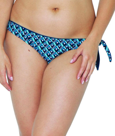 Curvy Kate Wanderlust Reversible Tie Side Bikini Brief - Blue Mix - Front