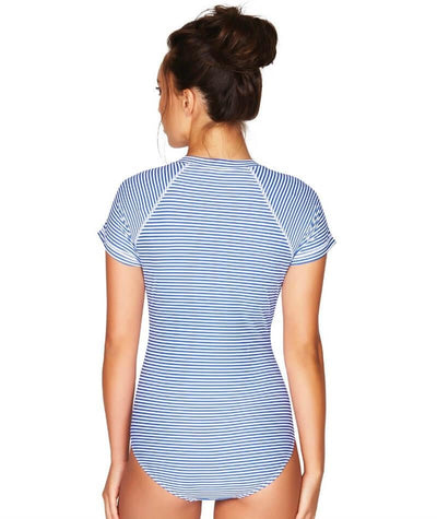 Sea Level Sorrento Stripe Short Sleeve B-DD Cup One Piece Swimsuit - French Blue - Back