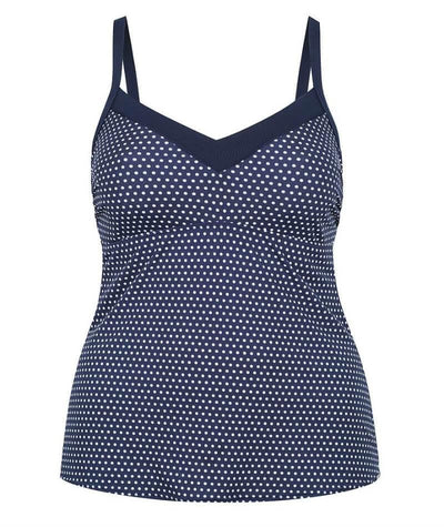 Capriosca Chlorine Resistant Underwire Tankini Top - Navy & White Dots
