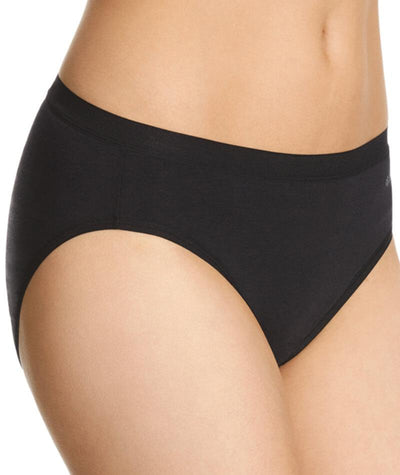 "Jockey Everyday Bamboo Hi Cut Brief- Black ""Side"""