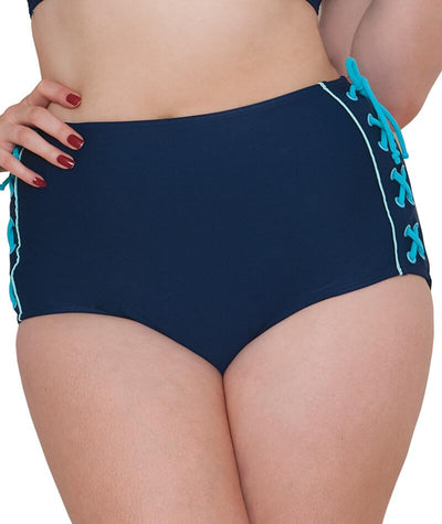 "Curvy Kate Set Sail High Waist Brief- Indigo Mix ""Front"""