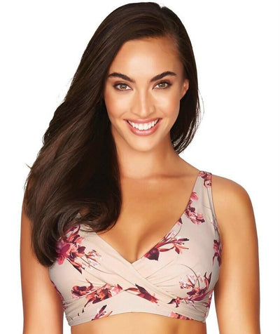 Sea Level Exotic Blooms Cross Front B-DD Cup Bikini Top - Stone - Front