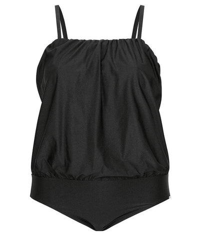 Capriosca Flouncy Bandeau One Piece Swimsuit - Black