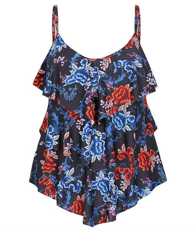 Capriosca 3 Tier Tankini Top - Embroidered Roses