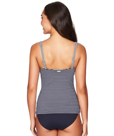 Sea Level Paloma Stripe Twist Front B-DD Cup Singlet Top - Navy/White - Back