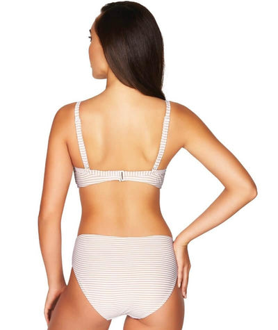 Sea Level Sorrento Stripe Cross Front Moulded Underwire D-DD Cup Bikini Top - Stone - Model - Back