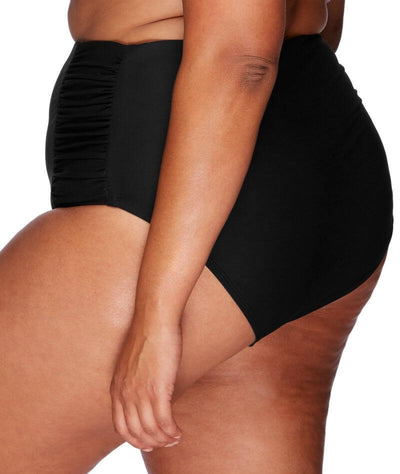 Artesands Rouched Side High Waist Brief - Black - Side