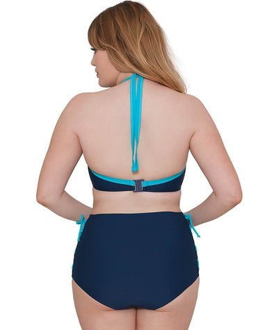 "Curvy Kate Set Sail High Waist Brief- Indigo Mix ""Back"""