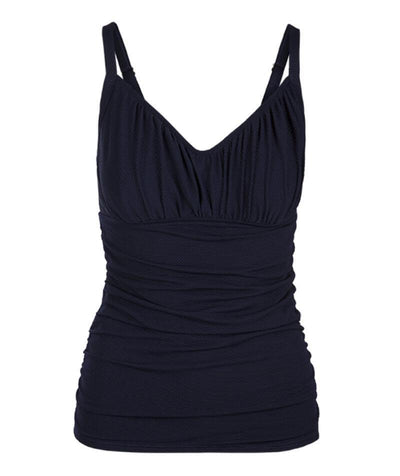 Capriosca Honey Comb Underwire Tankini Top Swimsuit - Navy