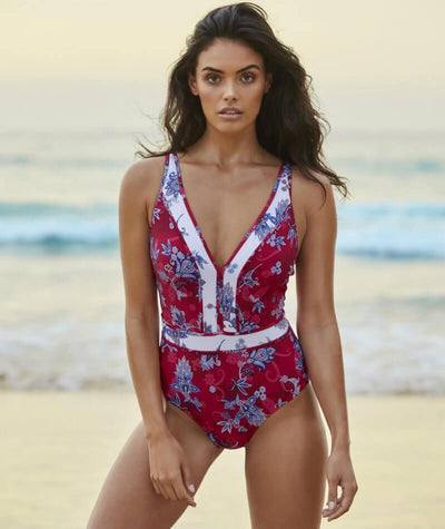 Sea Level Paisley Floral Spliced B-D Cup One Piece Swimsuit - Red - Model