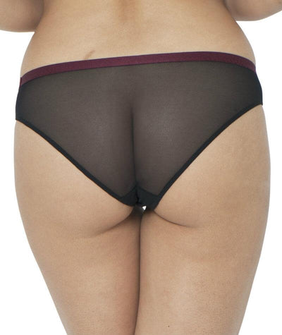 Curvy Kate Dragonfly Brazilian Brief - Black/Wine - Back