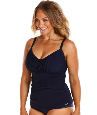 Capriosca Honey Comb Underwire Tankini Top Swimsuit - Navy - Side