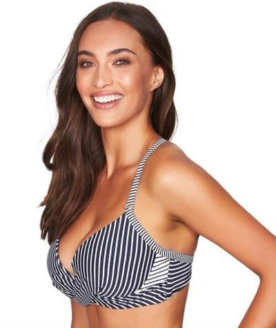 Sea Level Paloma Stripe Cross Front Moulded Underwire B-DD Cup Bikini Top - Navy/White - Side