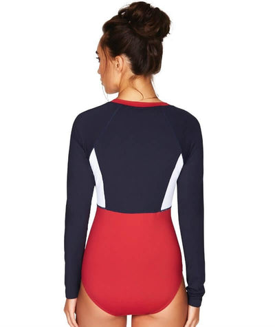 Sea Level Essentials Long Sleeve B-DD Cup One Piece Swimsuit - Red White & Navy - Back