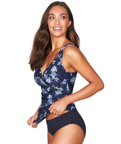 Sea Level Paisley Floral Cross Front B-DD Cup Singlet Top - Navy - Side