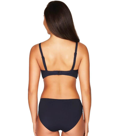 Sea Level Essentials Cross Front Moulded Underwire D-DD Cup Bikini Top - Night Sky Navy - Model - Back - 1