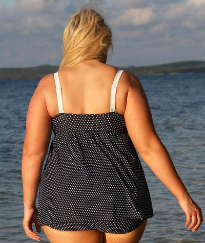 Capriosca Swing Twist Tankini Top - Navy and White Dots - Back