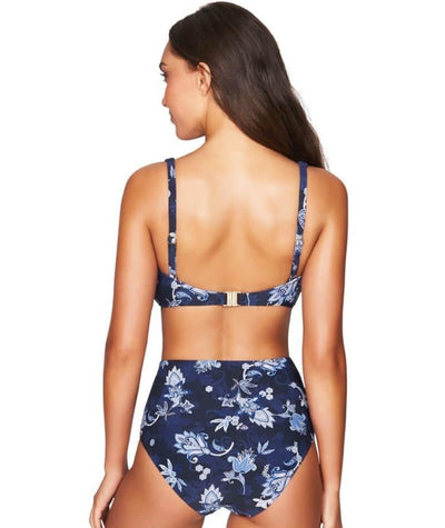 Sea Level Paisley Floral Cross Front B-DD Cup Bikini Top - Navy - Model - Back