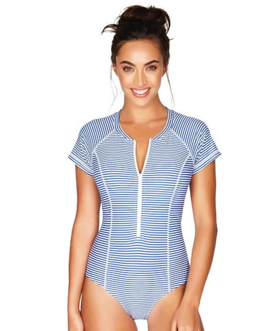 Sea Level Sorrento Stripe Short Sleeve B-DD Cup One Piece Swimsuit - French Blue - Front