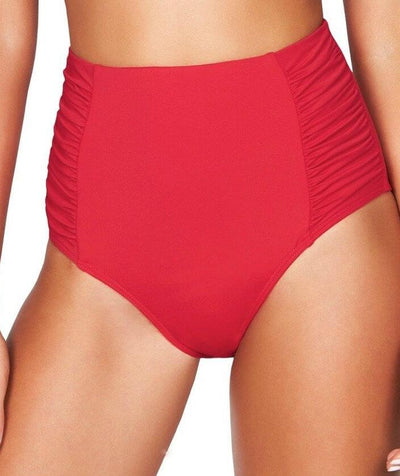 Sea Level Plains Gathered Side High Waist Brief - Red - Front