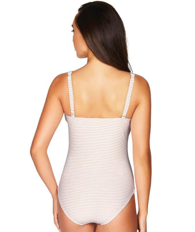 Sea Level Sorrento Stripe Cross Front B-DD Cup One Piece Swimsuit - Stone - Back