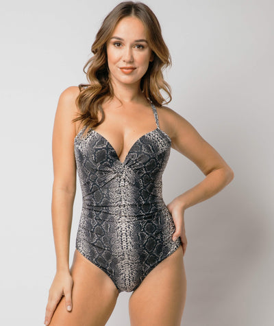 Nip Tuck Cross Front Moulded D - DD Cup Underwire One Piece -  Taupe Reptile