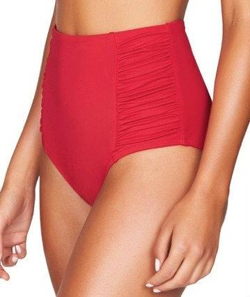 Sea Level Plains Gathered Side High Waist Brief - Red - Side