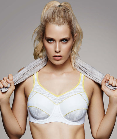 Triumph Triaction Performance Sports Bra - White - Light Combination