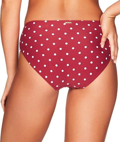Sea Level Retro Spot Mid Bikini Brief - Berry - Back