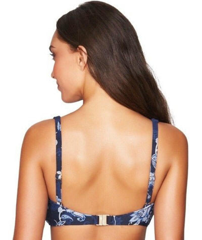 Sea Level Paisley Floral Cross Front B-DD Cup Bikini Top - Navy - Back