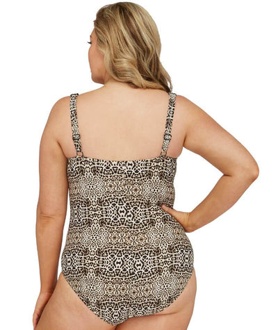 Artesands Leopard Botticelli Twist Front Floating Underwire D-DD Cup One Piece Swimsuit - Animal