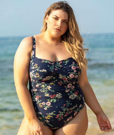 Artesands Neo Kimono Botticelli Twist Front Floating Underwire D-DD Cup One Piece Swimsuit - Navy