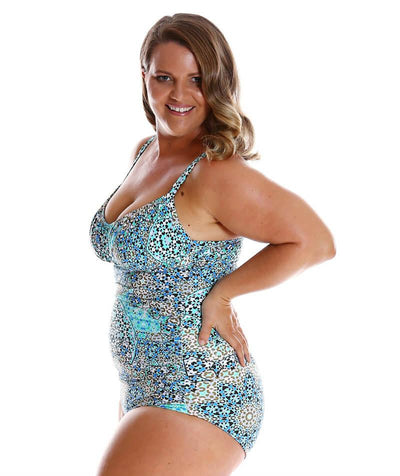 Capriosca Ruched Underwire One Piece Swimwear - Mosaic Aqua - Side