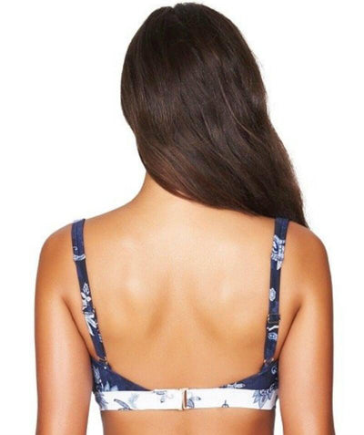 Sea Level Paisley Floral Square Neck A-D Cup Bikini Top - Navy - Back