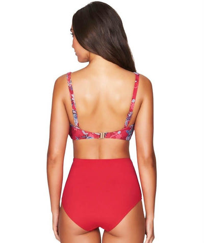 Sea Level Plains Gathered Side High Waist Brief - Red - Model - Back