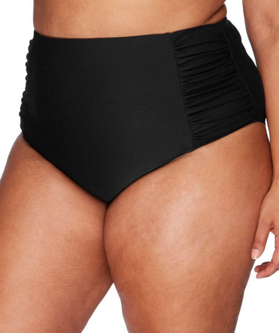 Artesands Rouched Side High Waist Brief - Black - Front