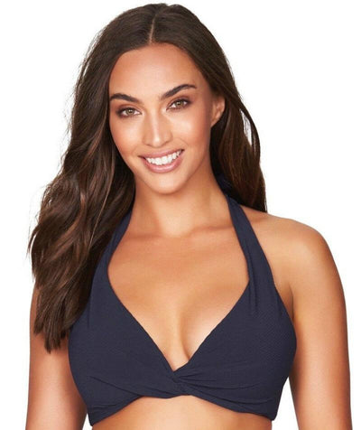 Sea Level Riviera Rib B-DD Cup Halter Bikini Top - Night Sky Navy - Front