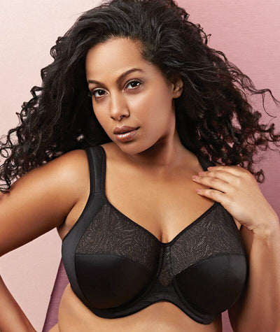 Goddess Heather Underwired Banded Stretch Bra - Black - Front