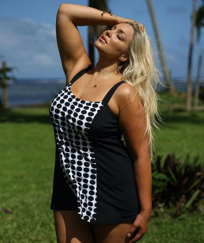 Capriosca Chlorine Resistant Panelled Swimdress - Black & White Dots - Model - Side