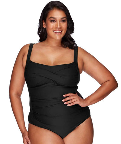 Artesands Botticelli Twist Front B-DD Cup One Piece Swimsuit - Black - Front