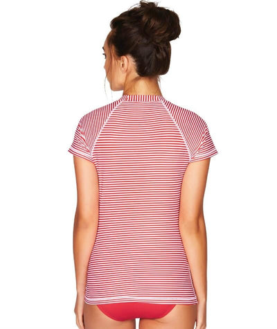 Sea Level Sorrento Stripe Short Sleeved B-DD Cup Rash Vest - Full Zipper - Red - Back