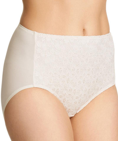 "Jockey No Ride Up Microfibre and Lace Full Brief - Cream ""Side"""