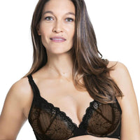 Cake Maternity Truffles Moulded Lace Cup Plunge Nursing Bra -  Black