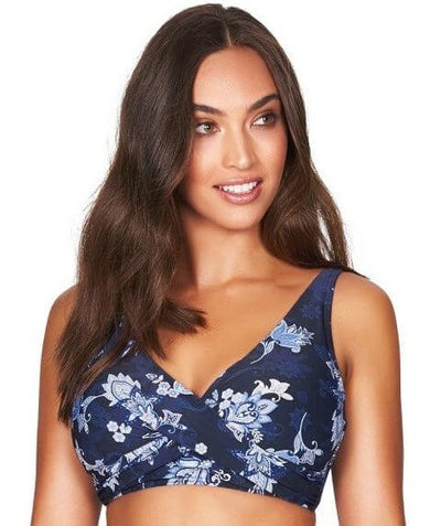 Sea Level Paisley Floral Cross Front B-DD Cup Bikini Top - Navy - Front