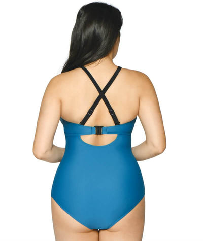 Curvy Kate Rock The Pool Plunge One Piece Swimsuit - Petrol Blue